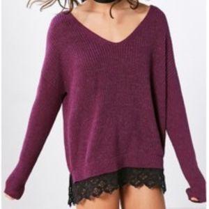 Kimchi Blue Purple Sweater with Black Lace Hem